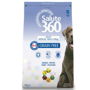 PET 360  Crocchette Cane GRAINFREE 3kg MAIALE-PATATE